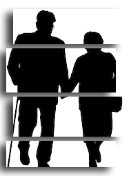 Senior Couple Zig Zag Silhouette